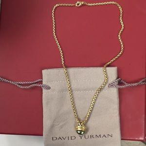 David Yurman 18K Gold Renaissance Peridot Necklace